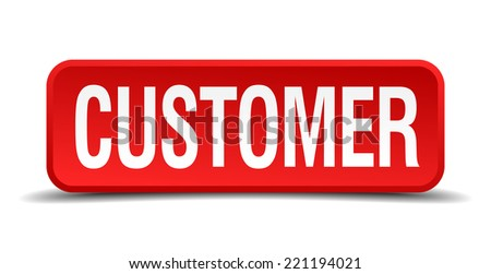Customer red three-dimensional square button isolated on white background - stock vector