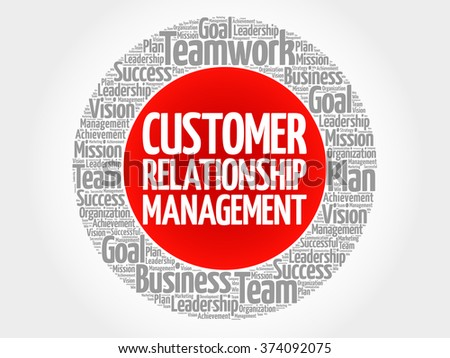 Customer Relationship Management circle word cloud, business concept - stock vector