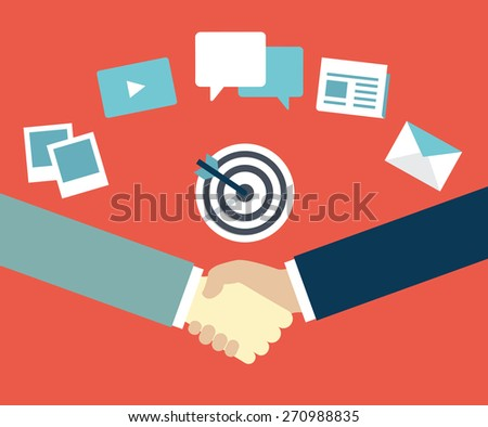 Customer Relationship Management. Content marketing as mean of  interaction between provider and customer - vector illustration - stock vector