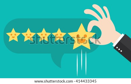 Customer review give a five star in bubble box. Positive feedback concept. Vector illustration. Minimal and flat design - stock vector