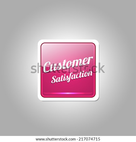 Customer Satisfaction Pink Vector Icon - stock vector