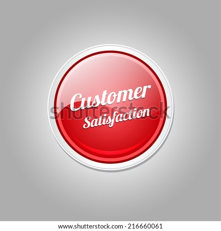 Customer Satisfaction Red Vector Icon - stock vector