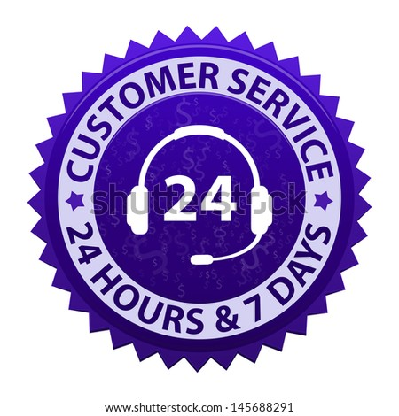Customer service and support around the clock 24 hours a day & 7 days a week icon isolated on white background. Vector illustration - stock vector