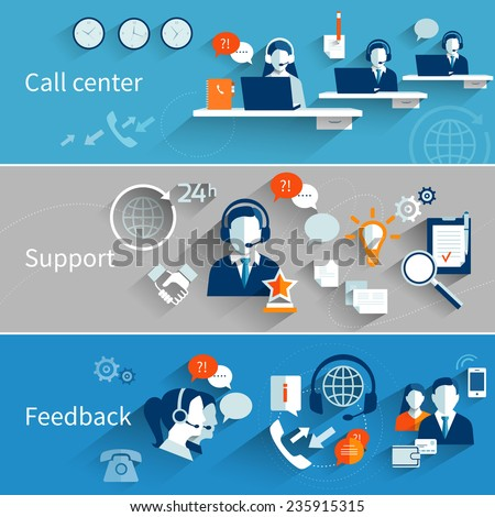 Customer service banners set with call center support feedback isolated vector illustration - stock vector