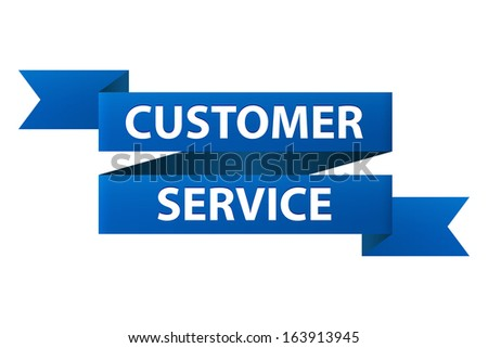 Customer service blue ribbon banner icon isolated on white background. Vector illustration
