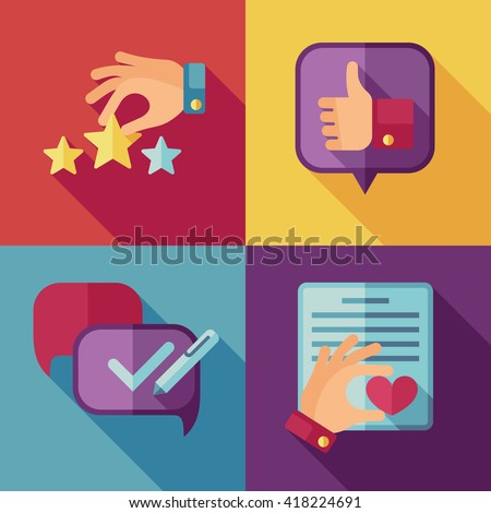 Customer service concept background in flat style. Success quality, feedback client, support icons. Vector illustration - stock vector