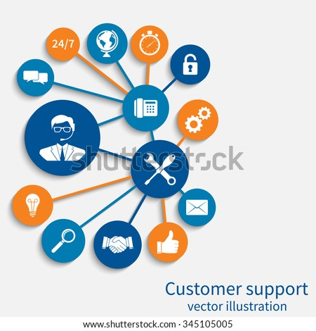 Customer service, concept. Concept of technical support online, call center. Template for web, banners, printed and promotional materials. Abstract background vector illustration. - stock vector