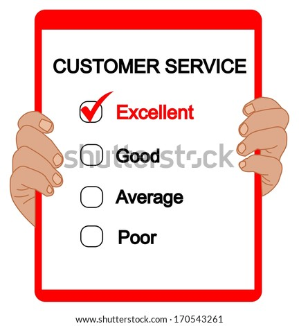 Customer service evaluation for quality with red check mark in Excellent  box with clipboard and red ink pen. - stock vector