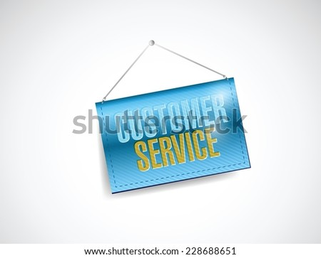 customer service hanging banner illustration design over a white background - stock vector