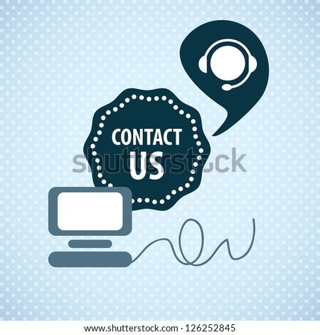 Customer Service icon (Contact us) on blue background - stock vector