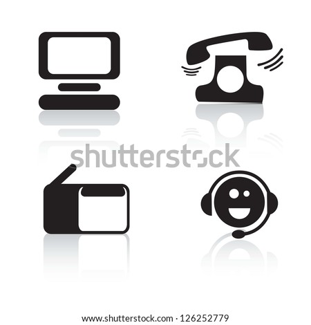 Customer Service icons of silhouettes .Vector illustration - stock vector