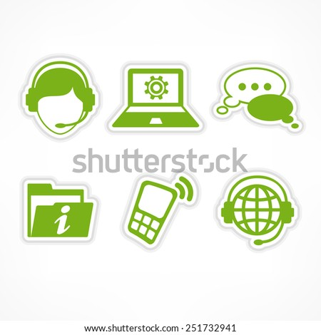 Customer service infographic with female operator & text, vector illustration - stock vector