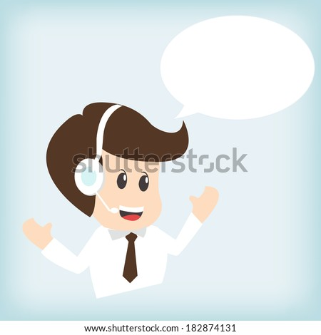 customer service operator with headset  - stock vector
