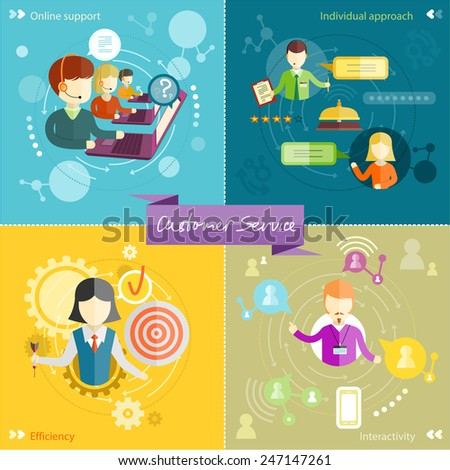 Customer service representative at computer in headset. Online support. Cartoon phone operator. Individual approach. Support efficiency. Customer support interactivity in flat design on four banners - stock vector
