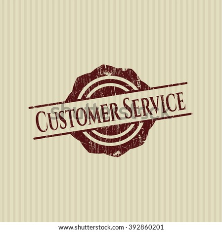 Customer Service rubber stamp with grunge texture