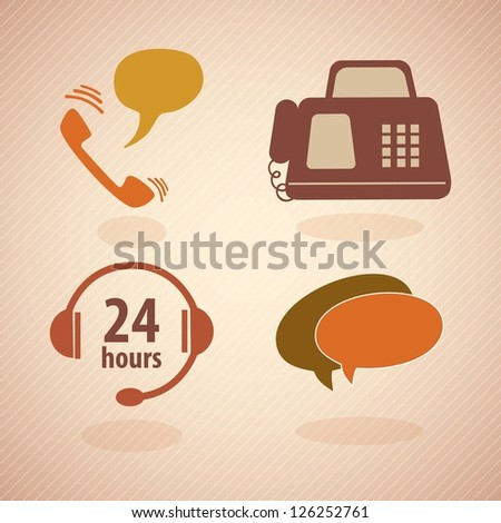 Customer Service vintage icons.With reto colors. Vector - stock vector