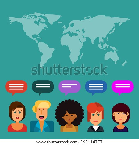 Customer service workers world map speech vectores en stock customer service workers and world map with speech bubble export and import colorful design gumiabroncs Images