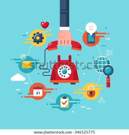 Customer support and call center concept with stylish icons. Vector illustration - stock vector