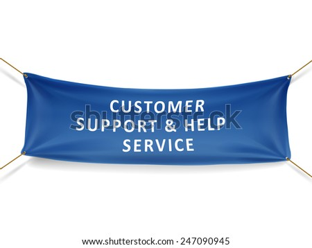 customer support and help service banner isolated over white background - stock vector