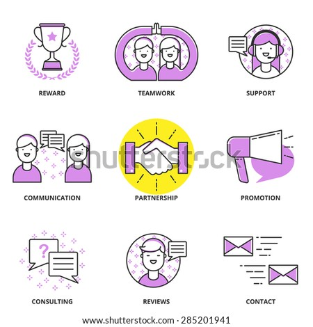 Customer support and management vector icons set: reward, teamwork, communication, partnership, promotion, consulting, reviews, contact. Modern line style - stock vector