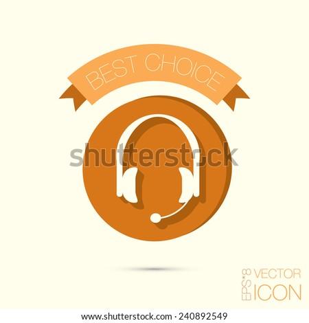customer support avatar, headphone icon. help sign - stock vector