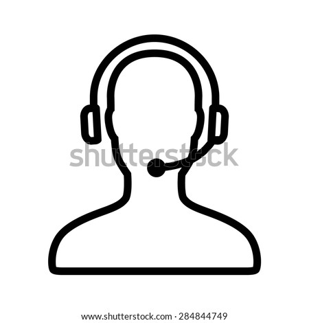 Customer support / customer service line art icon for apps and websites - stock vector