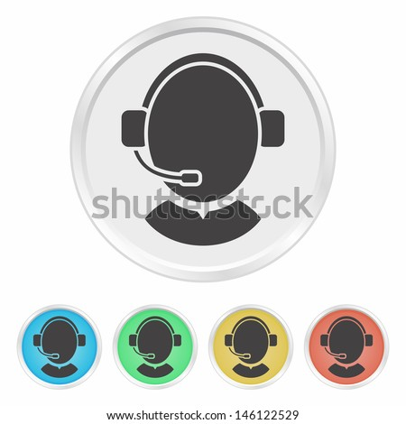 Customer support operator with headset - colorful vector button set - stock vector