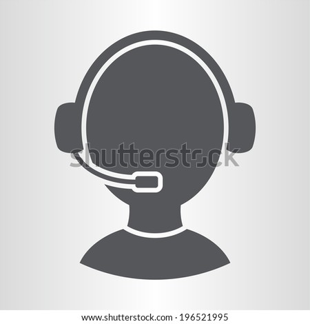 Customer support operator with headset icon - stock vector