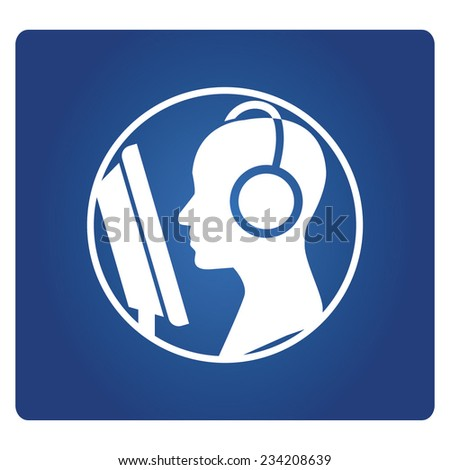 customer support operator with headset symbol - stock vector