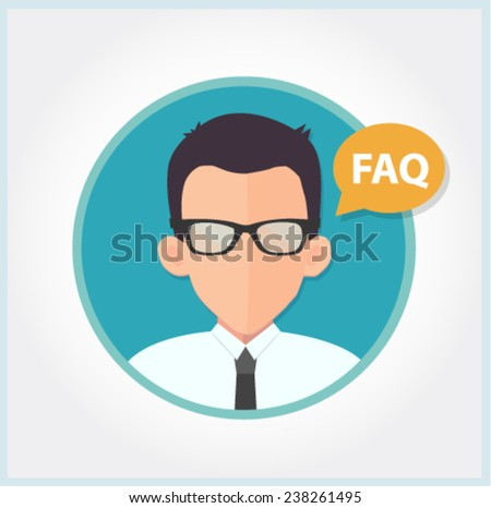 customer support or sales manager in glasses - flat design vector  - stock vector