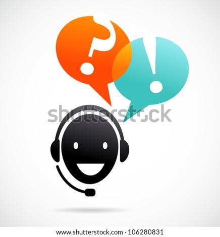 customer support with headphones - stock vector