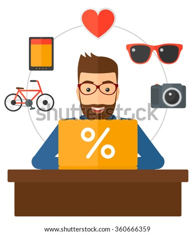 Customer with laptop. - stock vector