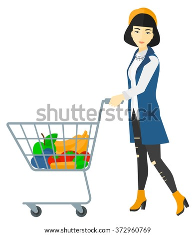 Customer with trolley. - stock vector