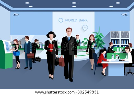 Customers and staff people in bank interior flat vector illustration - stock vector