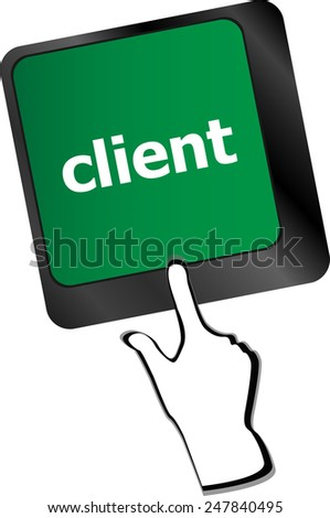 Customers Service Concept. Button on Modern Computer Keyboard with Word Clients on It - stock vector