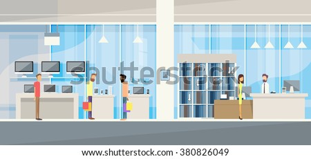 Customers with Assistant in Modern Electronics Store Shop Vector Illustration - stock vector