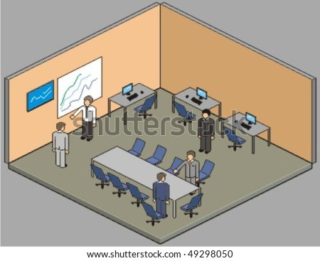 Customisable office setup. Vector pixel art style illustration. - stock vector