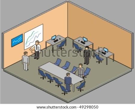 Customisable office setup. Vector pixel art style illustration. - stock vector
