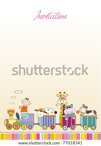 customizable birthday card with animal toys train - stock vector