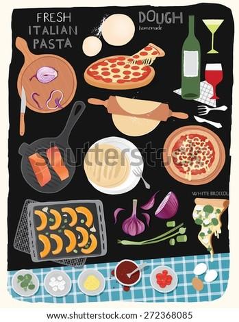 Customize your food, illustration set, menu design elements. - stock vector