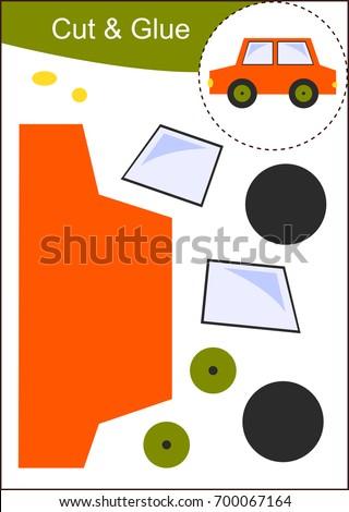 Cut Glue Worksheet Car Stock Vector 700067164 Shutterstock