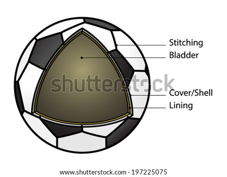 Cut-away diagram showing the construction of a soccer ball. With text labels.