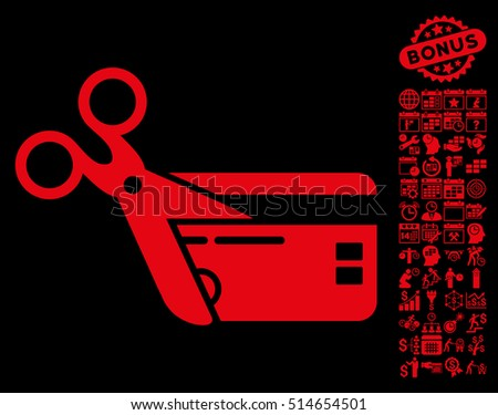 Cut Credit Card icon with bonus calendar and time management pictogram. Vector illustration style is flat iconic symbols, red color, black background.
