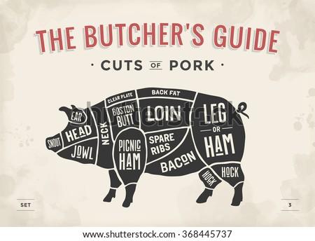 Cut Meat Set Poster Butcher Diagram Stock Photo Photo Vector