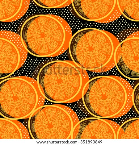 Cut orange decorative seamless retro background pattern with contour drawing. Textile and wallpaper fruit background. Vector illustration - stock vector
