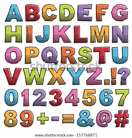 cut out alphabet shapes with letters, numbers and punctuation, isolated on white