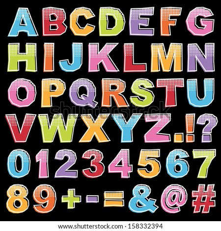 Cut Out Alphabet Shapes Letters Numbers Stock Vector