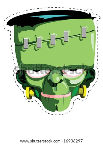 Cut out and keep Frankenstein mask - stock vector