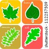 Cut-out leaf stickers for toddler book. - stock vector