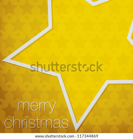 "Cut out ""Merry Christmas"" star card in vector format. - stock vector"